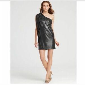 👗HP👗Aqua Metallic Silver 1Shoulder Batwing Dress